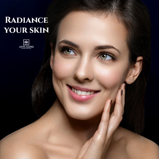 Person radiant facial skin.